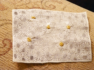 Daisies, stamped and embroidered